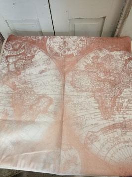 Mooie kussenhoes wereldkaart shabby gemaakt van heerlijk zacht materiaal, 45x45 cm € 8,95 per stuk
