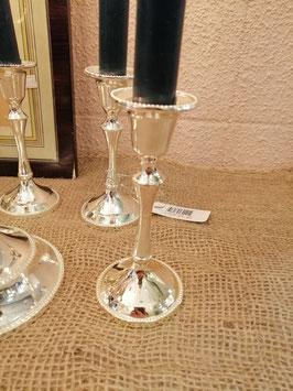 Vernikkelde kandelaar voor dinerkaars of straks leuk met kerstbal, afmetingen 13 x 6 cm, prijs per stuk