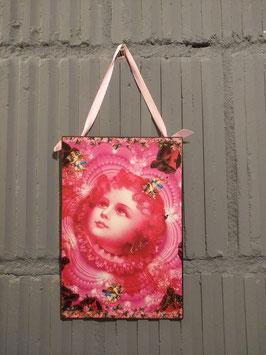 Romantische metalen plaat, 20 x 13,5 cm zonder lint, prijs per stuk.