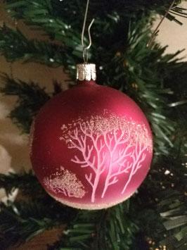 B080 oude kerstbal mat fuchsia met bomen decoratie, 8 cm