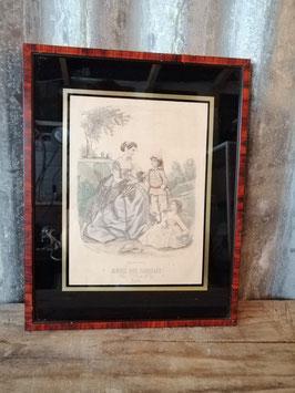Prachtige ingelijste Franse brocante mode prent Musee des Familles, afmetingen 33,5 x 26,5 cm