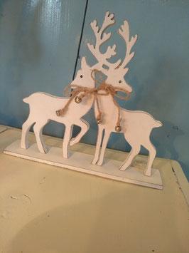Leuke witte herten van hout met belletjes, afmetingen 24 x 21 x 5 cm, prijs per stuk