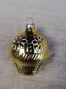 B601 oude kerstbal bloemenmand goud, hoogte 6 cm