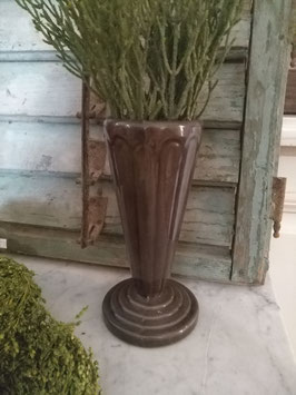 Mooie oude vaas van gietijzer, geemailleerd, hoogte 19 cm