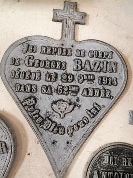 Antiek Frans herinneringshart van ijzer, afmetingen 22x 15,5 cm