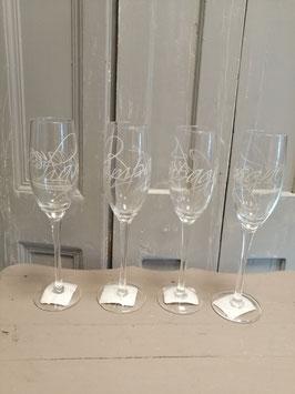 Mooie hoge champagne glazen, hoogte 25 cm, prijs per 4 stuks