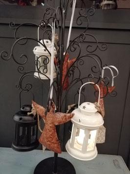 Leuke lantaarn van metaal zwart of wit, 15 x 10 cm zonder hengsel , prijs per stuk