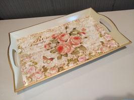 Mooie dienblad met rozen en vlinders, afmeting 43 x 27 cm prijs per stuk.