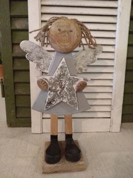 Mooie grote staande engel met ster van hout, hoogte 45 cm
