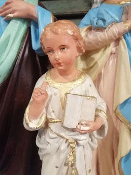 Prachtig brocante gipsen beeld van de heilige familie, oude reparatie aan voet, afmetingen 42 x 30 x 15 cm