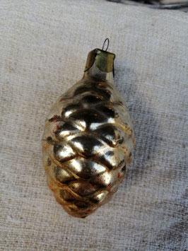 B631 oude kerstbal brons dennenappel, hoogte 8 cm