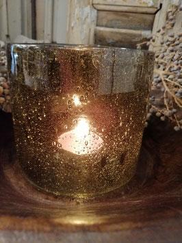 Mooi groot windlicht of vaas in olijfgroen glas met belletjes, afmetingen 14 x 15 cm, prijs per stuk