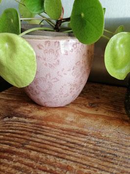 Mooie bloempotten van aardewerk met oudroze decor, 13 x 11 cm prijs per stuk