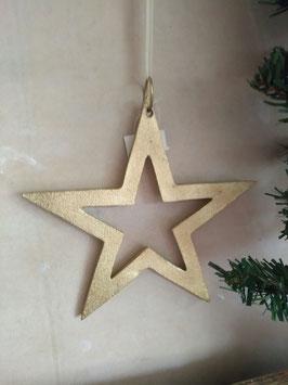 Grote ster van metaal in goud, afmeting 18 cm, prijs per stuk.