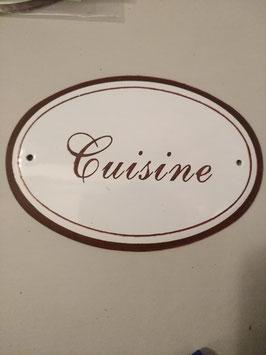 Metalen deurbordje keuken cuisine ovaal, 12,5 x 8,5 cm, prijs per stuk.