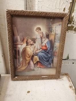 Brocante religieuze prent met heilige familie Maria Jozef en kindje Jezus, afmetingen 26,5 x 21,5 cm