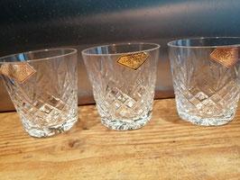 Mooie brocante tumblers van loodkristal 24%, afmetingen 8x8 cm, prijs per stuk