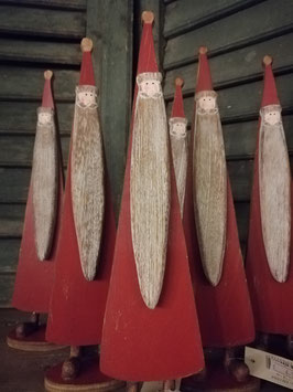 Leuke staande kerstman van hout, hoogte 28 cm, prijs per stuk