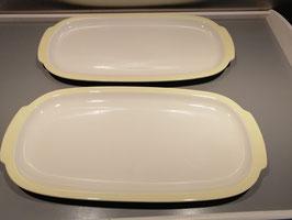 Brocante platte schaal Petrus Regout pastel geel met handvaten, afmetingen 33 x 16,5 cm, prijs per stuk
