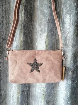 Tas met ster oud roze, afmetingen 12 x 22 cm, prijs per stuk