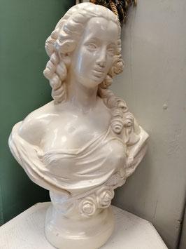 Mooi groot brocante gipsen beeld of buste van Marie Antoinette, afmetingen 65 x 35 x 20 cm