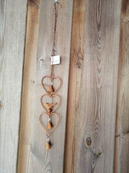 Mooie triangel van ijzer met belletjes, hoogte 56 cm, prijs per stuk