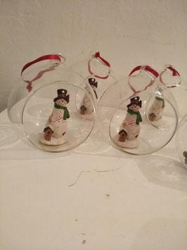 Mooie glazen kerstbal met sneeuwman, hoogte 10 cm, prijs per stuk.