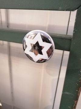 knop wit zilver ster, 4 cm, prijs per stuk.