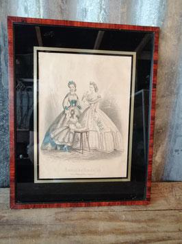 Prachtige ingelijste Franse brocante modeprent Journal des Demoiselles, afmetingen 33,5 x 26,5 cm