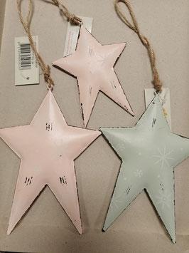 Leuke dikke sterren van metaal in mint groen en pastel roze, prijs per stuk.