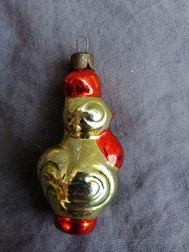 B459 oude kerstbal haan hoogte 8 cm
