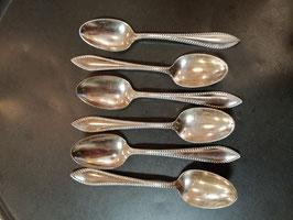 Leuke set van 6 theelepels verzilverd met parelrand, lengte 11 cm