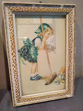 Mooie vintage ingelijste prent, afmeting 16 x 11 cm