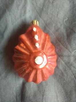 B360 oude Russische kerstbal roze druppel ornament met wit, half transparant, 10 cm