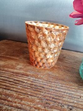 Chique bronskleurig waxinelichthouder van glas, afmetingen 9 x 9 cm prijs per stuk