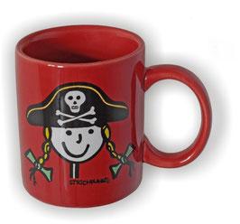 Becher, Strichpunkt-Piratin, Rot