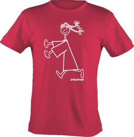 T-Shirt, Strichpunkt-Rennendes Mädchen,  Aufdruck vorne