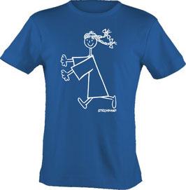 T-Shirt, unisex, Strichpunkt-Rennendes Mädchen,  Aufdruck vorne