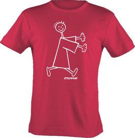 T-Shirt, unisex, Strichpunkt-Rennendes Männchen,  Aufdruck vorne