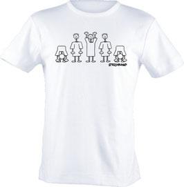 T-Shirt, Strichpunkt-La ola,  Aufdruck vorne