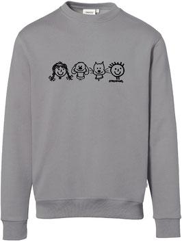 Sweatshirt, unisex, Strichpunkt-Reihe Hund und Katze,  Aufdruck vorne