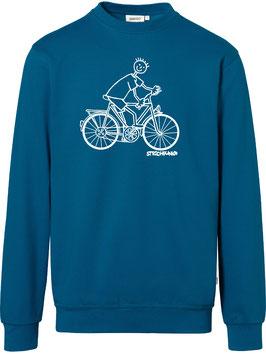 Sweatshirt, unisex, Strichpunkt-Fahrradfahrer,  Aufdruck vorne