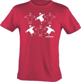 T-Shirt,  Strichpunkt-Familie Männchen,  Aufdruck vorne