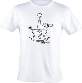 T-Shirt, Strichpunkt-Schaukelpferd,  Aufdruck vorne