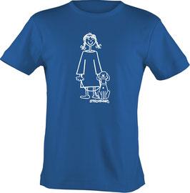 T-Shirt, unisex, Strichpunkt-Mädchen m. Hund,  Aufdruck vorne