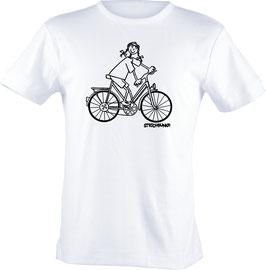 T-Shirt Kids, Strichpunkt-Fahrradfahrerin,  Aufdruck vorne