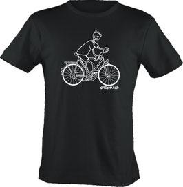 T-Shirt, Strichpunkt-Fahrradfahrer,  Aufdruck vorne