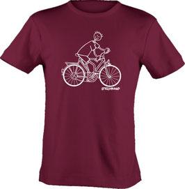T-Shirt, unisex, Strichpunkt-Fahrradfahrer,  Aufdruck vorne