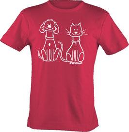 T-Shirt, unisex, Strichpunkt-Hund und Katze,  Aufdruck vorne