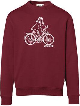 Sweatshirt, unisex, Strichpunkt-Fahrradfahrerin,  Aufdruck vorne
